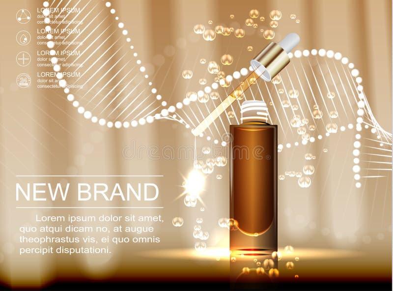 Plantilla cosmética de los anuncios, botella de cristal de la gotita con el aceite de la esencia aislado en fondo marrón stock de ilustración