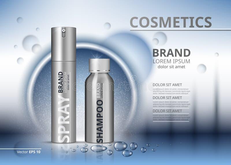 Plantilla cosmética de los anuncios del paquete Champú y espray en las botellas de plata Ejemplo realista de la maqueta 3D Agua d libre illustration