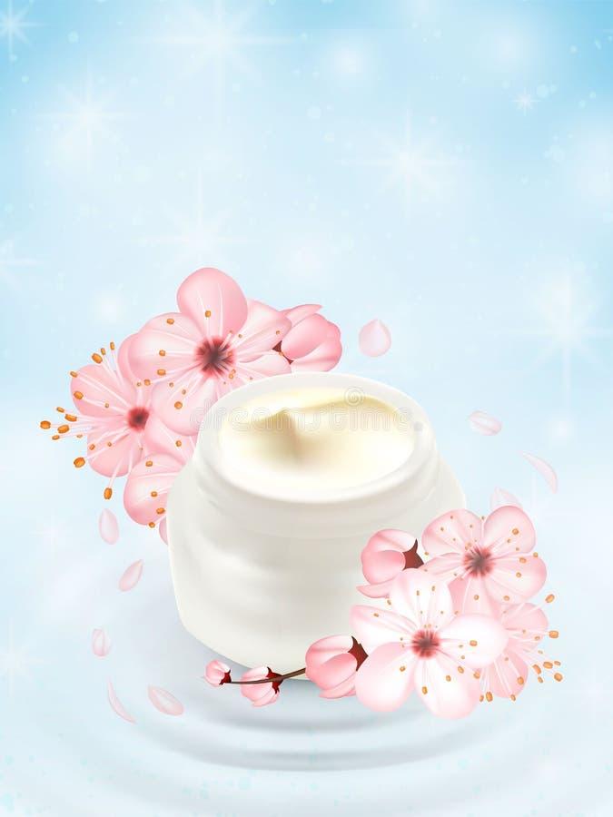 Plantilla cosmética hidratante de los anuncios Maquetas poner crema de los productos que hacen publicidad sobre el agua, fondo de stock de ilustración