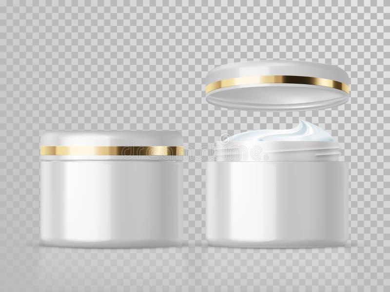 Plantilla cosmética poner crema del paquete del cuidado de piel del vector del tarro stock de ilustración