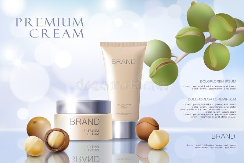 Plantilla cosmética realista del anuncio del aceite de nuez de macadamia 3d Pelo de plata blanco de la cara del suero de la maque ilustración del vector