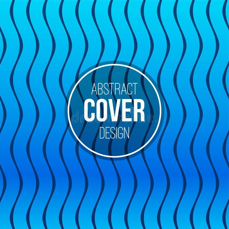 Plantilla creativa abstracta de la disposición del concepto Cubierta abstracta moderna de las líneas onduladas azules brillantes, stock de ilustración