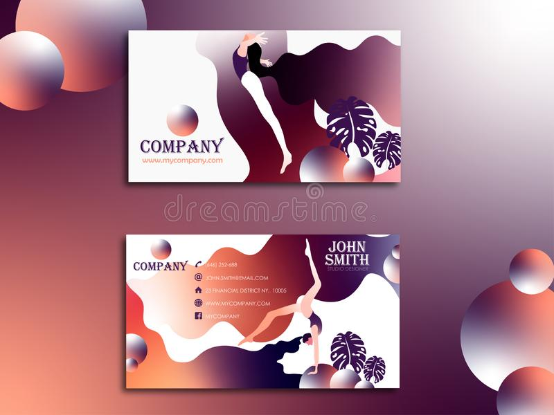 Plantilla creativa abstracta de la tarjeta de visita del vector diseño plano bilateral ilustración del vector
