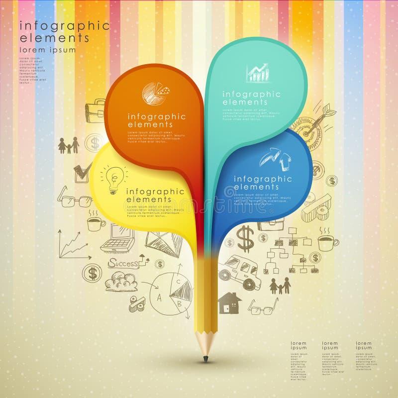 Plantilla creativa con el lápiz y el fondo colorido del mano-drenaje libre illustration
