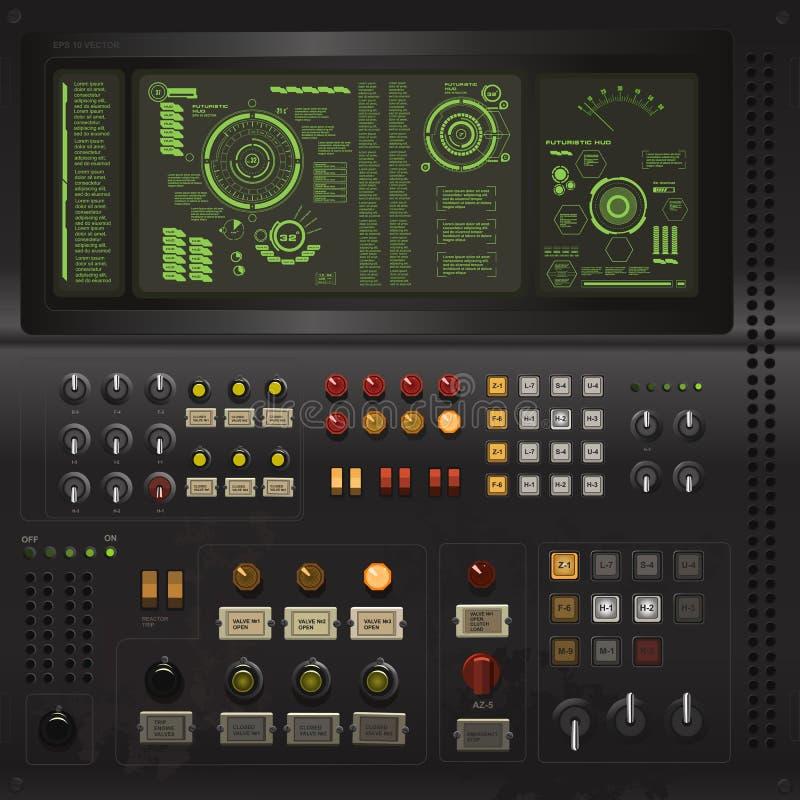 Plantilla creativa de la interfaz de usuario en el estilo del ordenador viejo de la ciencia ficción stock de ilustración