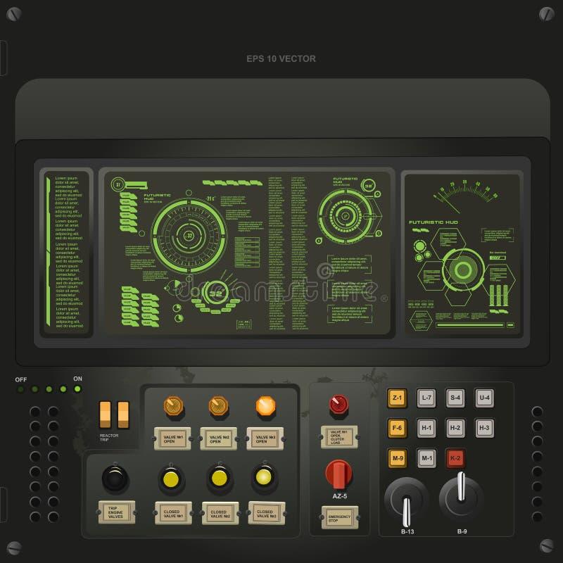 Plantilla creativa de la interfaz de usuario en el estilo del ordenador viejo de la ciencia ficción ilustración del vector