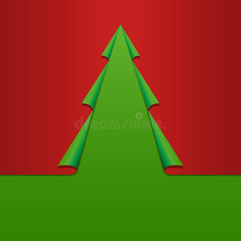 Plantilla creativa de la tarjeta del árbol de navidad. Papel encrespado de las esquinas. Vec ilustración del vector