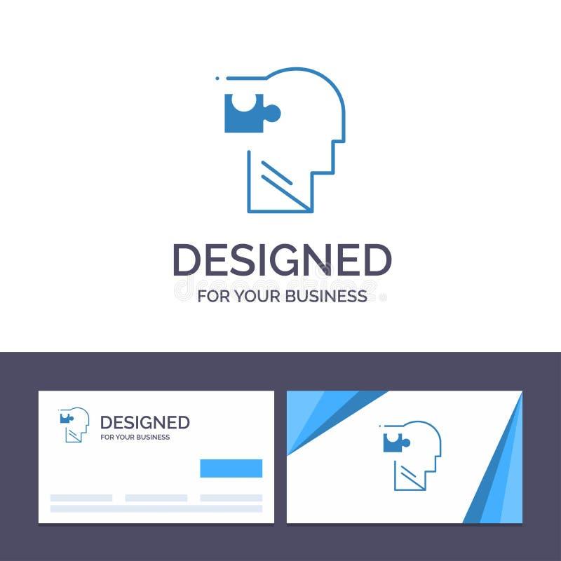 Plantilla creativa de la tarjeta y del logotipo de visita humana, lógico, mente, rompecabezas, ejemplo del vector de la solución libre illustration