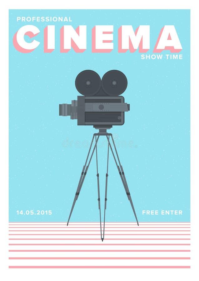 Plantilla creativa del cartel, del aviador o de la invitación por tiempo profesional de la demostración del cine o premier cinema stock de ilustración