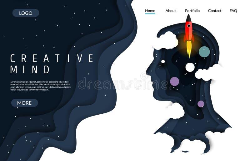 Plantilla creativa del diseño de la página del aterrizaje de la página web del vector de la mente libre illustration