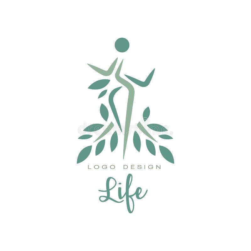 Plantilla creativa del emblema de la vida con las hojas y la silueta humana Concepto del cuidado médico Logotipo plano abstracto  stock de ilustración