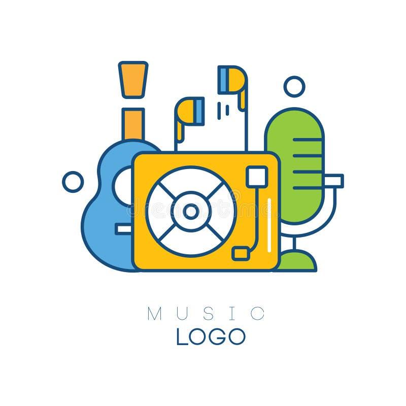 Plantilla creativa del logotipo con el jugador de disco de vinilo, los auriculares, la guitarra y el micrófono retro Afición de l stock de ilustración