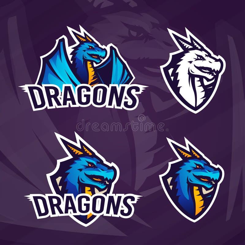 Plantilla creativa del logotipo del dragón Diseño de la mascota del deporte Insignias de la liga de la universidad, muestra asiát stock de ilustración
