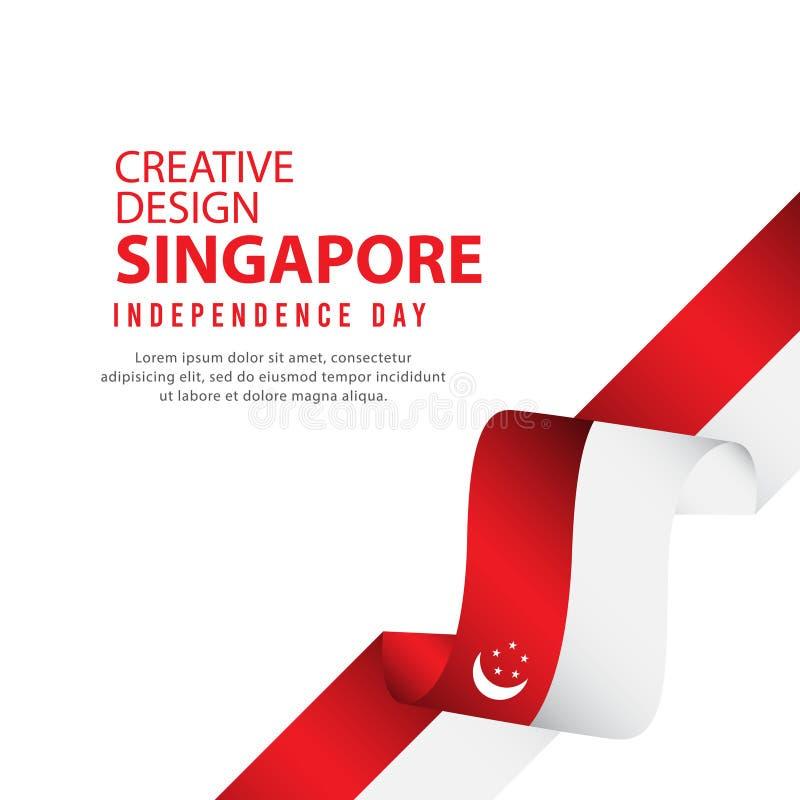 Plantilla creativa del vector del ejemplo del diseño del cartel independiente del día de Singapur ilustración del vector