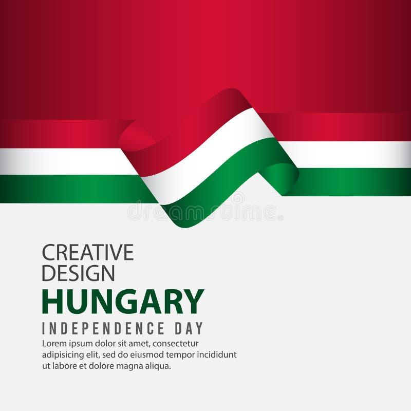 Plantilla creativa del vector del ejemplo del diseño de la celebración del Día de la Independencia de Hungría stock de ilustración