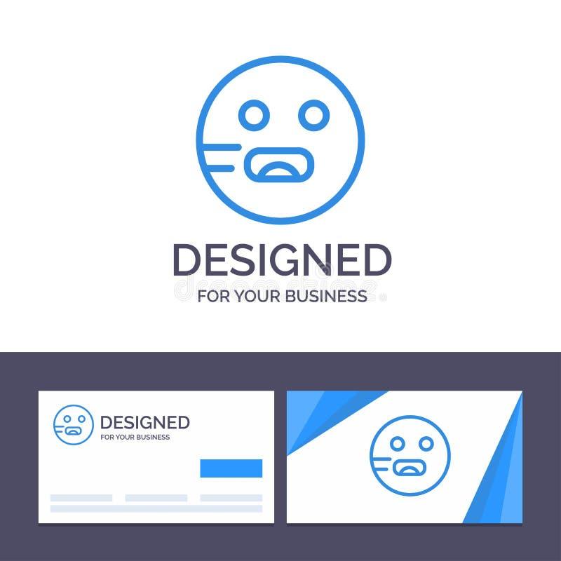 Plantilla creativa Emojis, Emoticon, hambriento, ejemplo de la tarjeta y del logotipo de visita del vector de la escuela stock de ilustración
