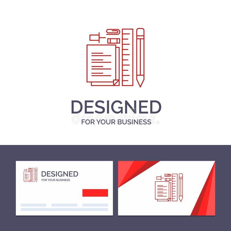 Plantilla creativa inmóvil, lápiz, pluma, libreta, Pin Vector Illustration de la tarjeta y del logotipo de visita stock de ilustración