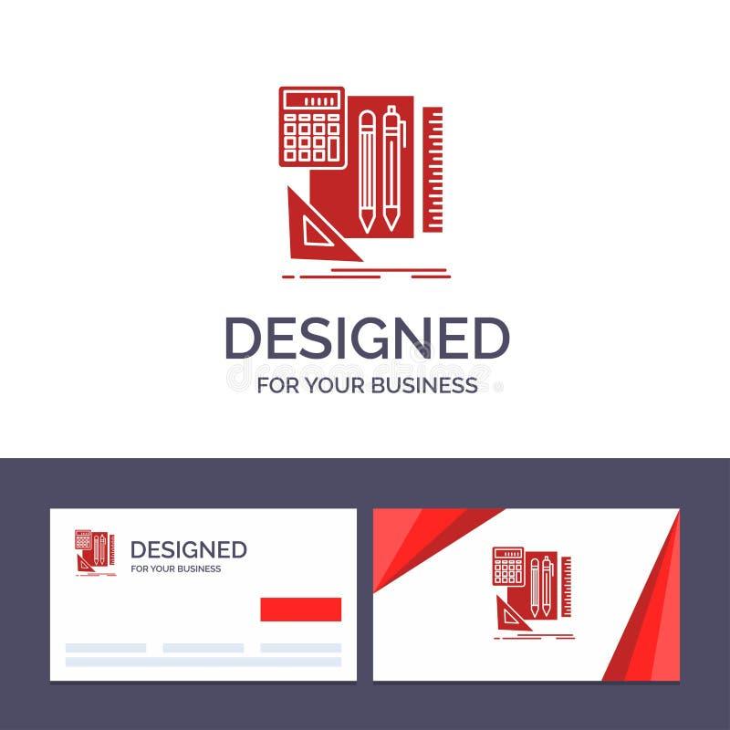 Plantilla creativa inmóvil, libro, calculadora, Pen Vector Illustration de la tarjeta y del logotipo de visita libre illustration