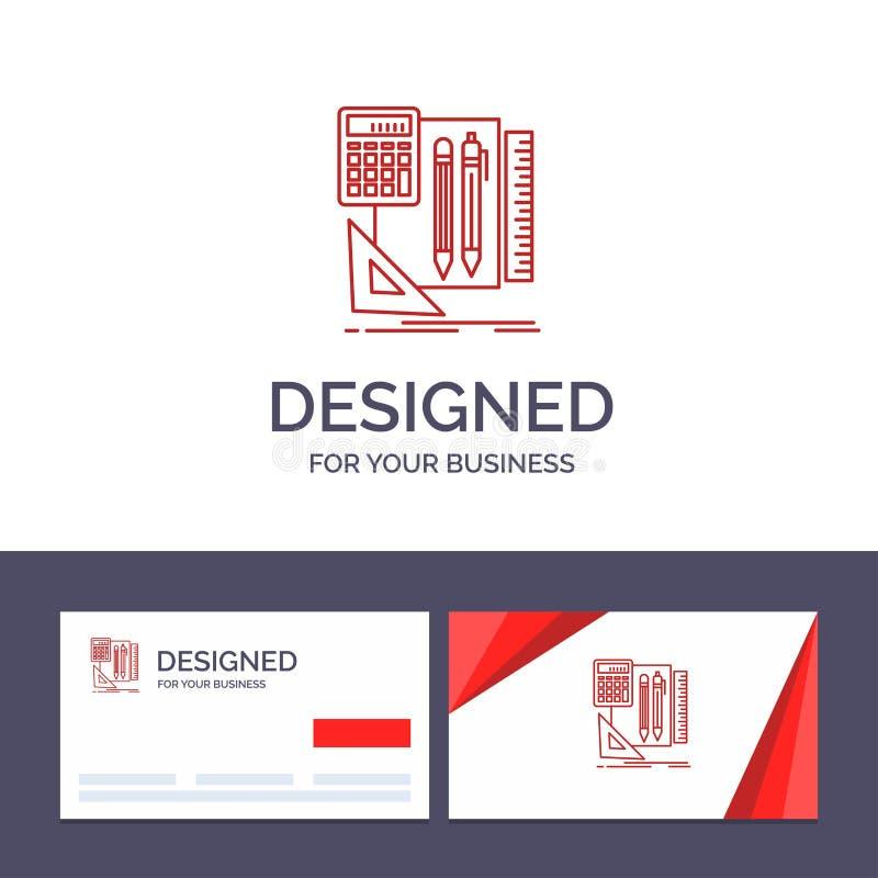 Plantilla creativa inmóvil, libro, calculadora, Pen Vector Illustration de la tarjeta y del logotipo de visita ilustración del vector