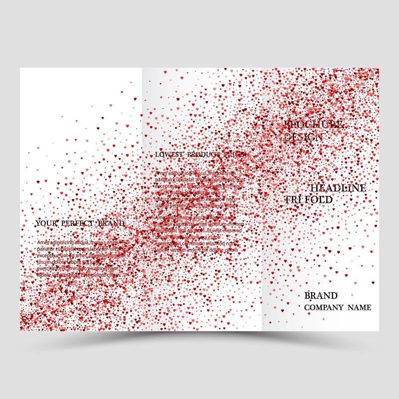 Plantilla creativa moderna de tres folletos del negocio con brillo abstracto rosado stock de ilustración