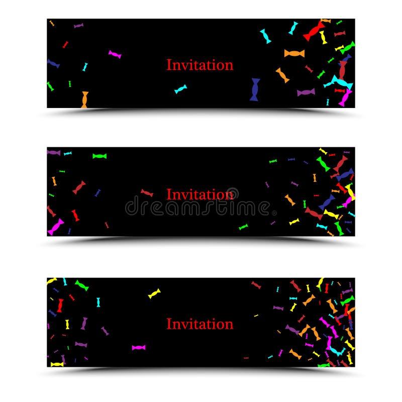 Plantilla creativa moderna del folleto del negocio de tres veces con el caramelo brillante en un fondo negro para la invitación,  ilustración del vector