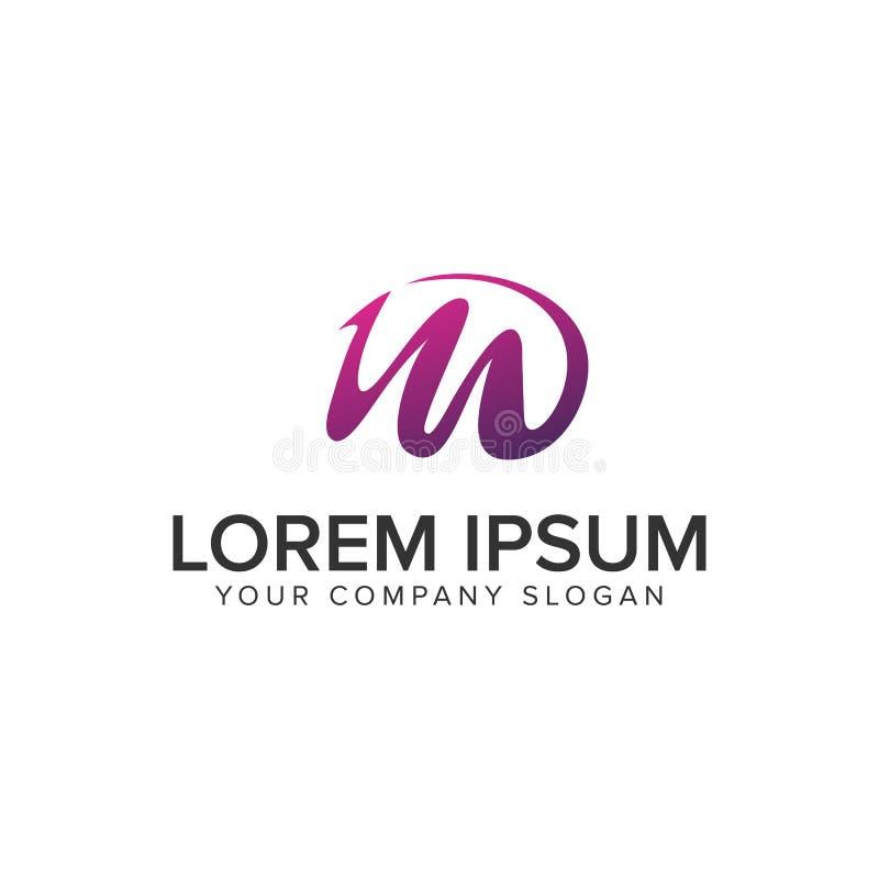 Plantilla creativa púrpura del concepto de diseño del logotipo de la letra M stock de ilustración