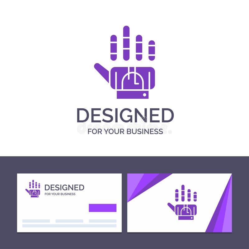 Plantilla creativa que sigue, guante, mano, ejemplo de la tarjeta y del logotipo de visita del vector de la tecnología ilustración del vector