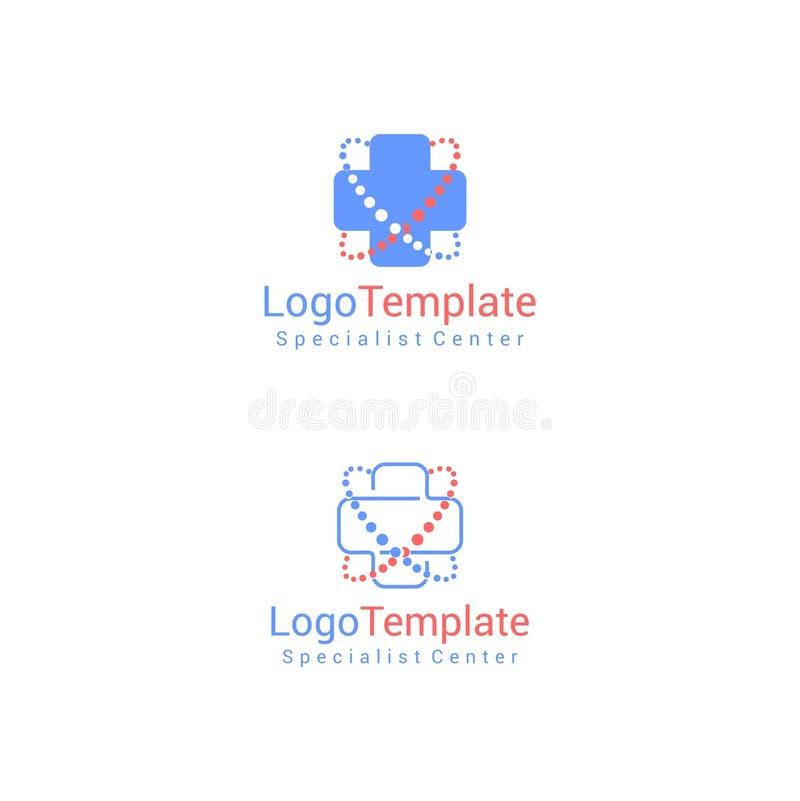 Plantilla cruzada del logotipo de la salud y de la salud con el fichero del vector de la palabra foto de archivo