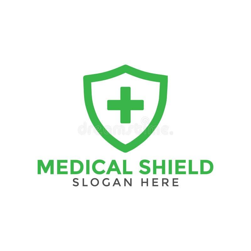 Plantilla cruzada médica verde del diseño del icono del logotipo del escudo ilustración del vector