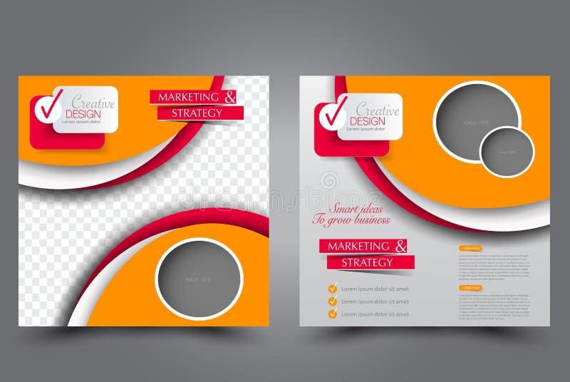 Plantilla cuadrada del aviador Diseño del folleto Cartel del informe anual stock de ilustración