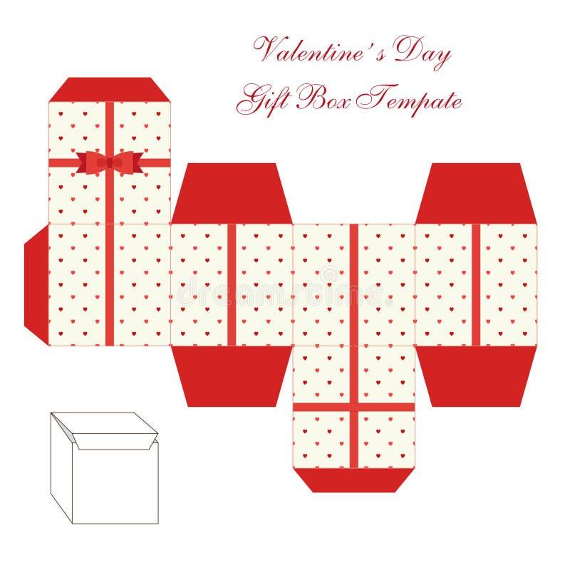 Plantilla cuadrada retra linda de la caja de regalo con el ornamento de los corazones a imprimir, a cortar y a doblar ilustración del vector