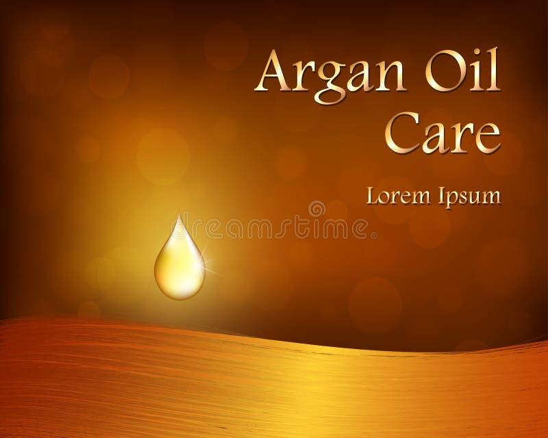 Plantilla de Argan Oil con descenso de oro y pelo ilustración del vector