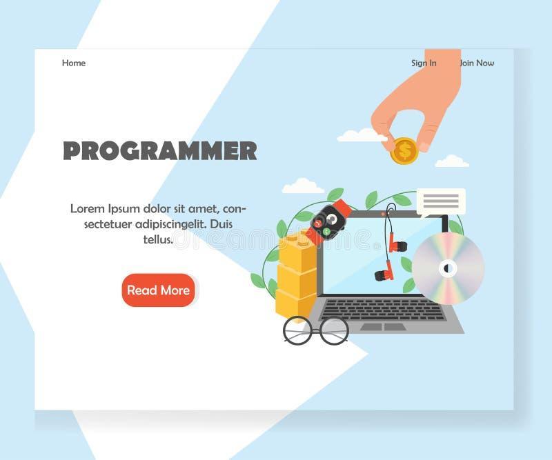 Plantilla de aterrizaje del diseño de la página de la página web del vector del programador stock de ilustración