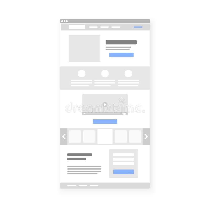 Plantilla de aterrizaje del interfaz del wireframe del sitio web de la página Vector ilustración del vector