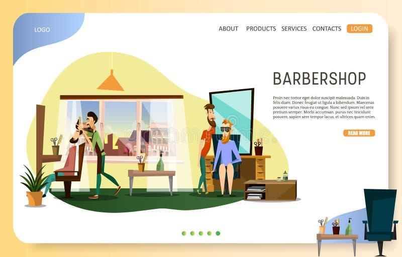 Plantilla de aterrizaje del vector de la página web de la página de la peluquería de caballeros stock de ilustración