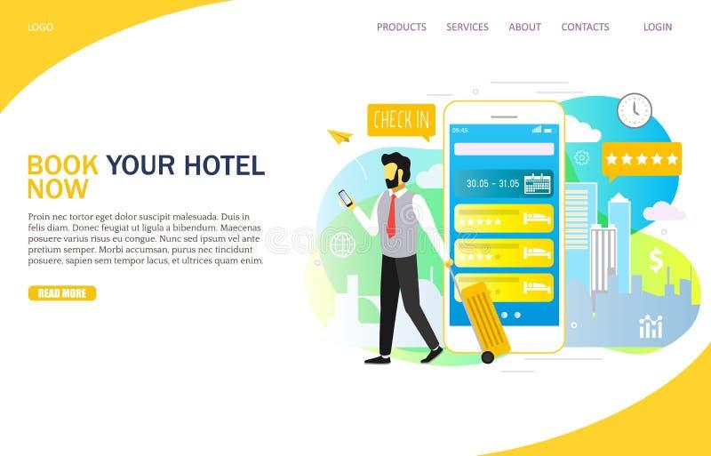 Plantilla de aterrizaje en línea del vector de la página web de la página del hotel del libro stock de ilustración