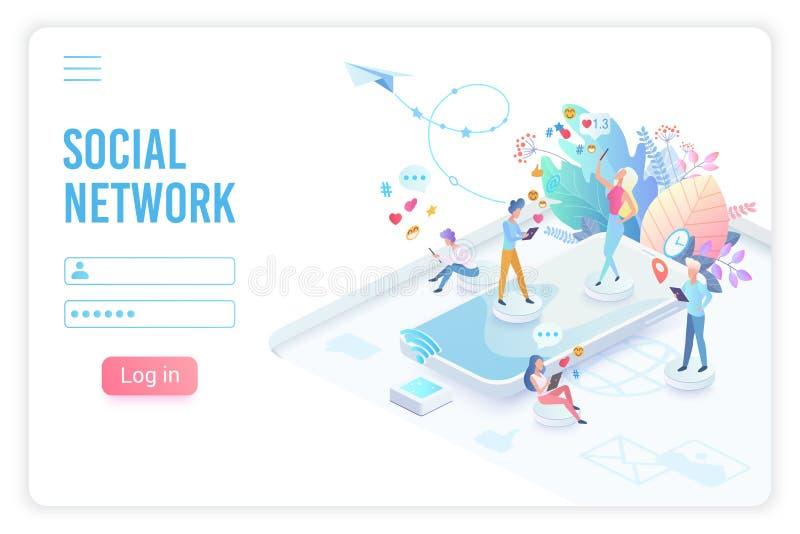 Plantilla de aterrizaje isométrica del vector de la página del app social de la red libre illustration