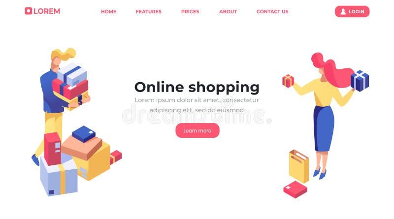 Plantilla de aterrizaje isométrica en línea de la página que hace compras Productos de la compra del cliente, vendedor de sexo fe ilustración del vector