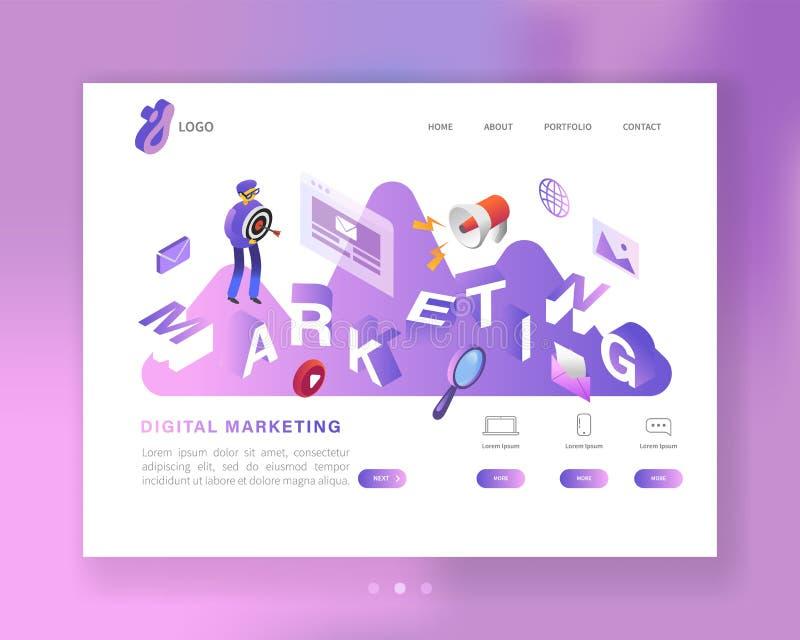 Plantilla de aterrizaje isométrica de la página del medios márketing social Diseño de la página web con el carácter que crea el c ilustración del vector