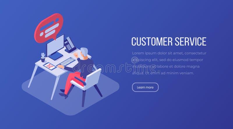 Plantilla de aterrizaje isométrica de la página del servicio de atención al cliente Consultor masculino, operador que trabaja en  ilustración del vector
