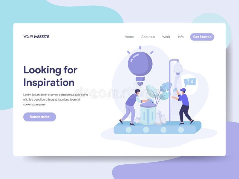 Plantilla de aterrizaje de la página de buscar ideas y concepto del ejemplo de la inspiración Concepto de diseño plano isométrico stock de ilustración