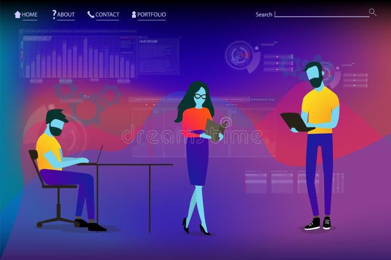 Plantilla de aterrizaje de la página con el Analytics Team Workflow stock de ilustración
