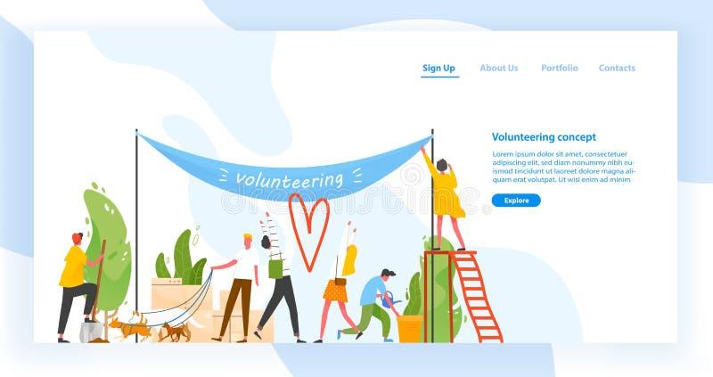 Plantilla de aterrizaje de la página con el grupo de hombres y de mujeres que participan en la organización o el movimiento volun libre illustration