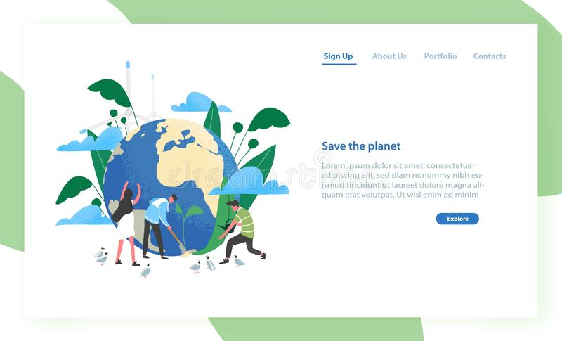 Plantilla de aterrizaje de la página con el grupo de personas de ecologistas que toman el cuidado de la tierra y de la naturaleza ilustración del vector