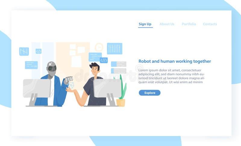 Plantilla de aterrizaje de la página con el robot divertido y el hombre que se sientan en los ordenadores y que trabajan junto en ilustración del vector
