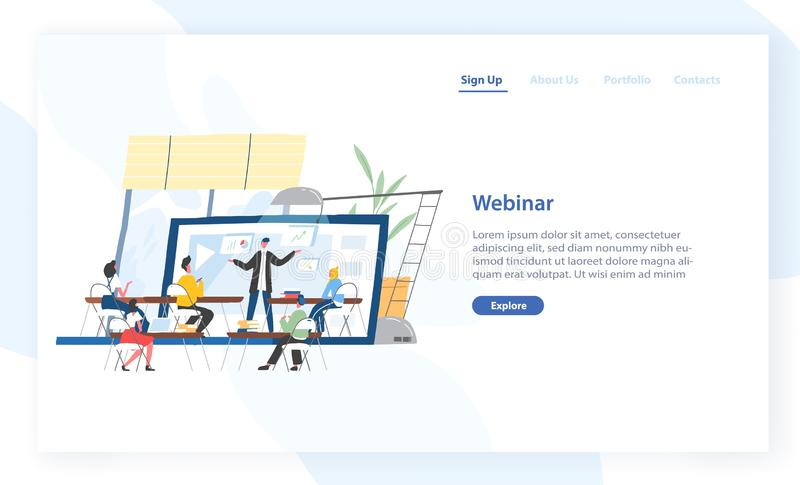 Plantilla de aterrizaje de la página con la gente que se sienta delante del conferenciante que exhibe en la pantalla del ordenado libre illustration