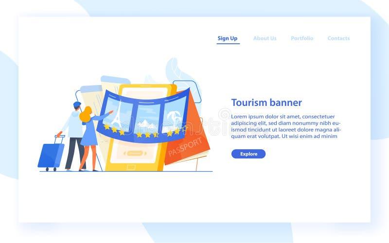 Plantilla de aterrizaje de la página con los pares que se colocan delante de smartphone gigante y de elegir el destino del viaje  ilustración del vector