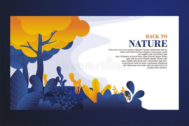Plantilla de aterrizaje de la página con paisaje de la naturaleza ilustración del vector