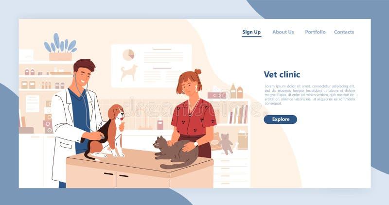 Plantilla de aterrizaje de la página con pares de veterinarios sonrientes que sostienen el gato y el perro Ejemplo plano del vect stock de ilustración