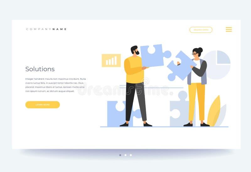 Plantilla de aterrizaje de la página Concepto de trabajo en equipo, sistema de funcionamiento constructivo stock de ilustración
